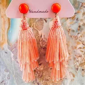 NWT Deepa Gurnani Beaded Peach Chandeliers